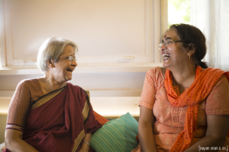 Shanta Gokhale and Sushama Deshpande having a convertation. Phot