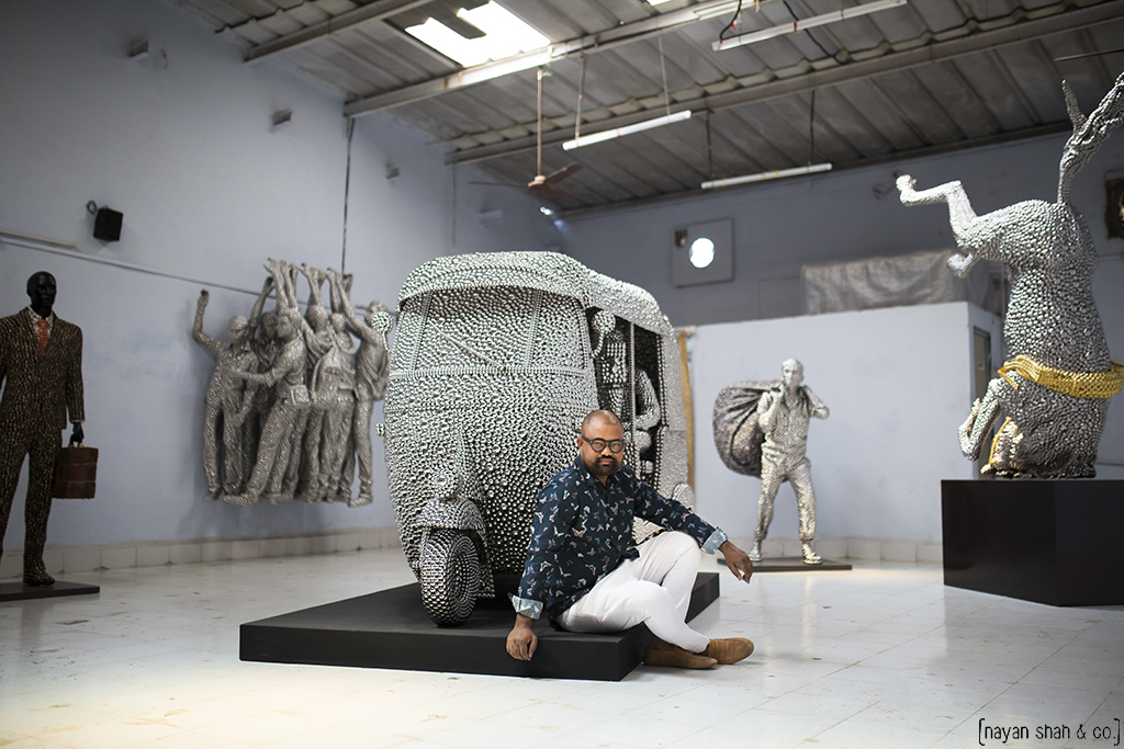 Valay  ​Shende with his works at the studio, Andheri east, Pho
